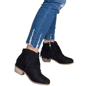 Faux Suede Med Low Heel Fringe Ankle Booties Boots